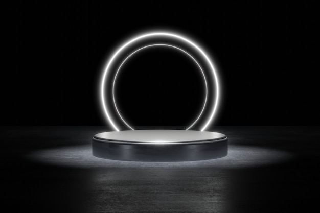 White neon light product background stage or podium pedestal on grunge street floor with glow spot