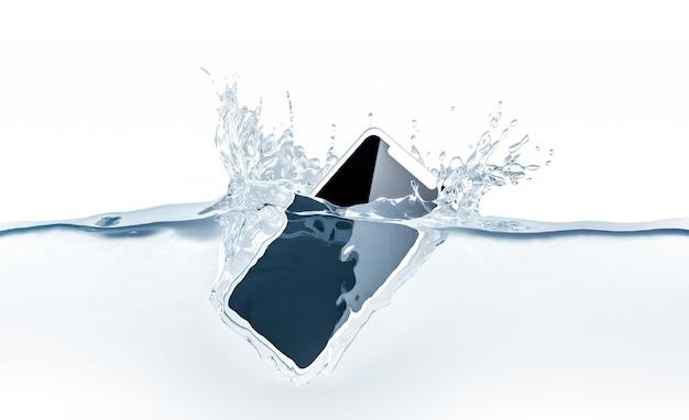 白い新しいスマートフォンのモックアップが水に落ちる