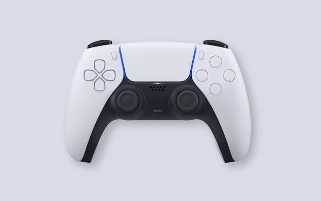 Белый игровой контроллер следующего поколения на белом фоне
