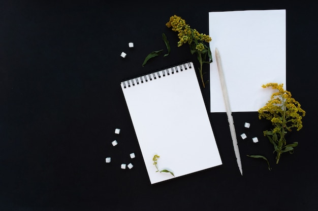 Шаблон макета белого блокнота на черном фоне с волшебным таинственным настроением