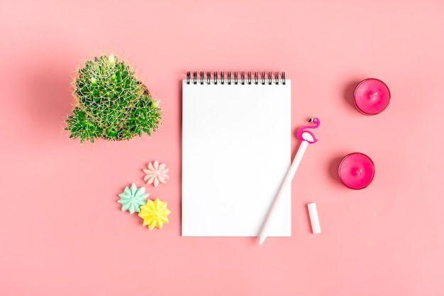 White notebook for notes, meringue, pen - flamingo, home flower succulent on pink background