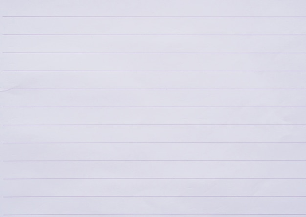 White notebook paper line close up background