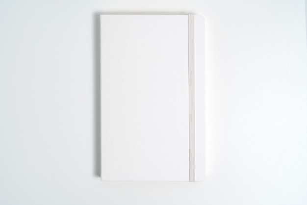 White notebook on white background with clipping path