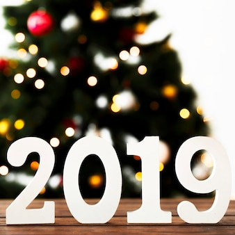 White numbers of 2019 on table in front of fir tree