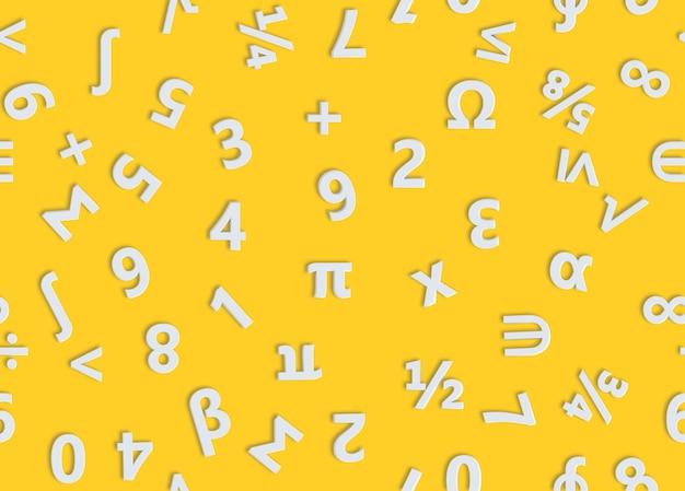 白い数字と数学記号のシームレスなパターン。