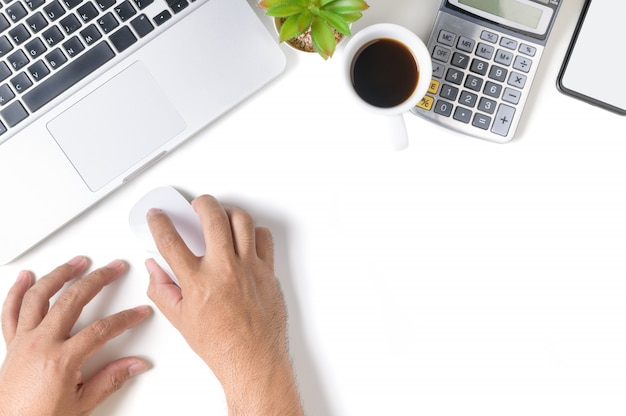 White office desk table with hand man using mouse with laptop isolated