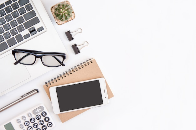 White office desk table