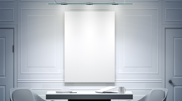 壁に空白のポスターのモックアップと白いオフィスのインテリア
