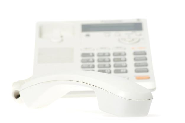 흰색 바탕에 흰색 사무실 전화