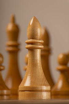 White officer against the background of the rest of the chess pieces