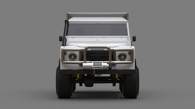 White old small suv tuned for difficult routes and expeditions