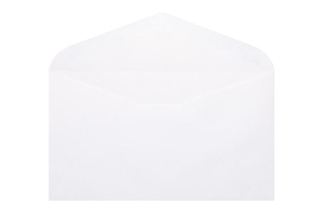 White open envelope isolated on white background.
