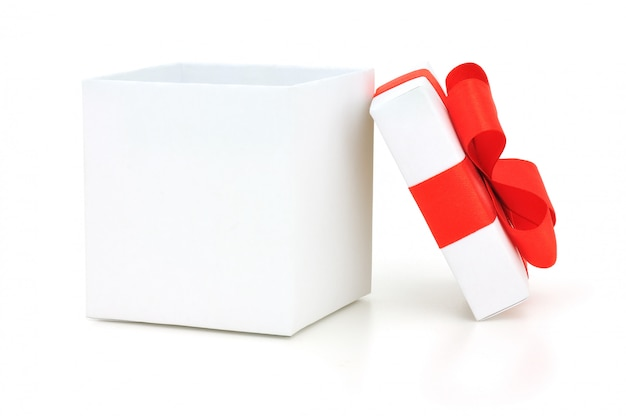 White open gift box with red bow