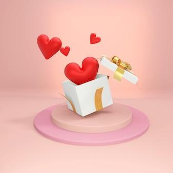 リボン付きの白いオープンギフトボックス、内側にハート、ピンクの背景に飛び出します。バレンタインデーの3dイラストコンセプト。