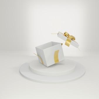 白い背景、3dレンダリングにリボン付きの白いオープンギフトボックス。