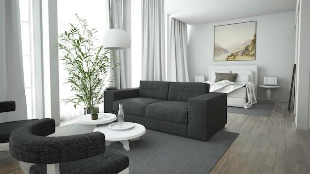 Белая квартира-лофт open space с диваном и кроватью