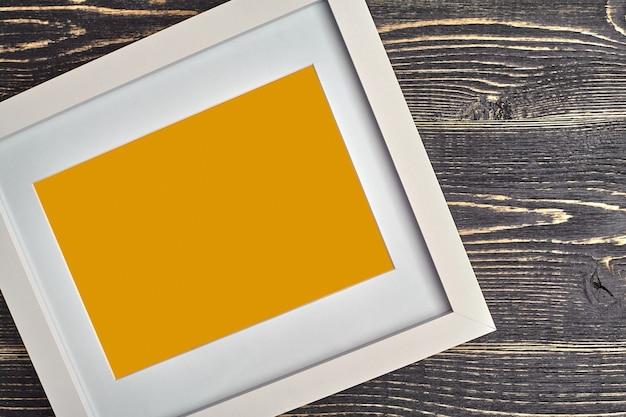White and orange modern empty photo frame