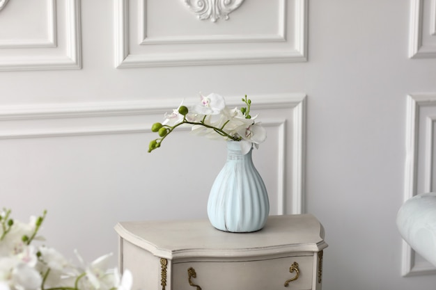 White orchid flowers in vase on table