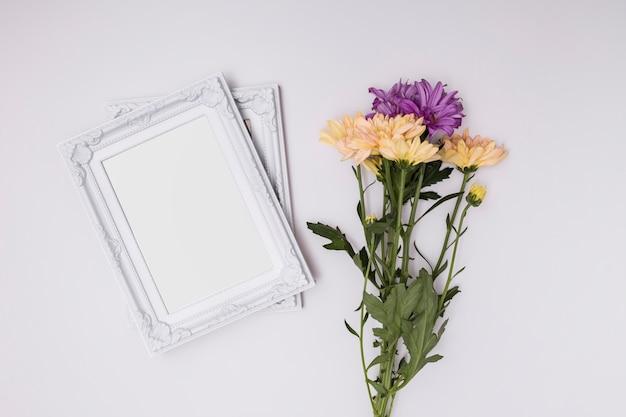 White ornamental frames on white background