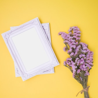 White ornamental frames on yellow background
