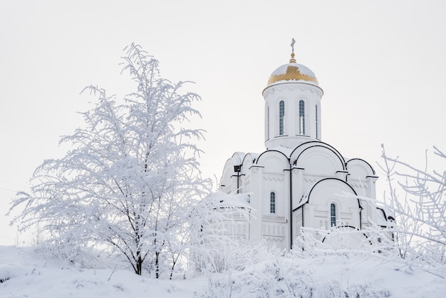 White orthodox church with a golden dome