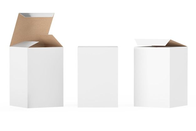 White package boxes on a white background