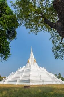 White pagoda at chedi phukhao thong, ayutthaya province, thailand