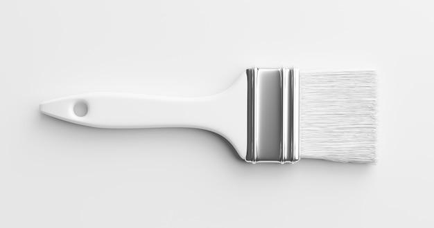 흰색 페인트 브러시 또는 그리기 그래픽 아트 페인팅 색상 도구는 독창적인 최소 페인트 브러시 디자인으로 깨끗한 종이 배경에 격리되어 있습니다. 3d 렌더링.