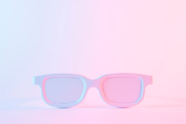 White painted eyeglasses against pink background