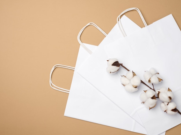White paper bag and a branch with cotton flowers on a light brown background, zero waste, top view