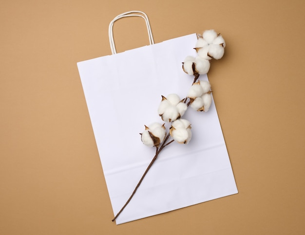 White paper bag and a branch with cotton flowers on a light brown background, zero waste