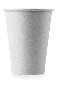 The white paper coffee cup with a black lid lies on white