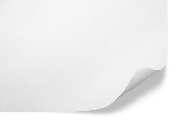 Уголок белой бумаги, место для текста