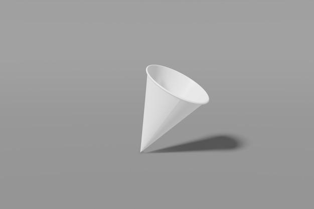 Конус чашки белой бумаги сформированный на сером цвете, перевод 3d