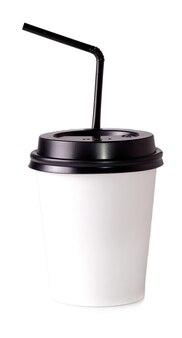 白い面にストローで飲む白い紙コップ