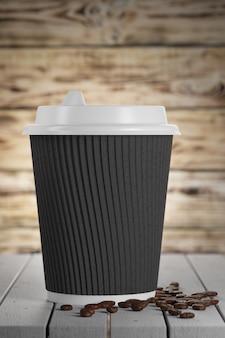 Белый бумажный стаканчик с черным гофрированным картоном. одноразовая бумажная посуда. 3d визуализация