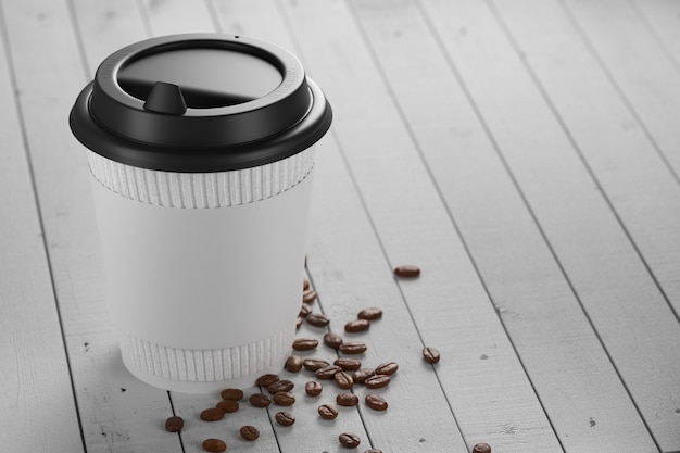 White paper cup with coffee on a white wooden table. 3d render.