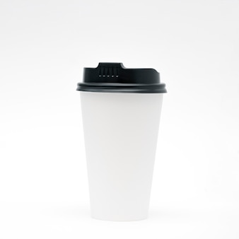 White paper cup with lid on a white background