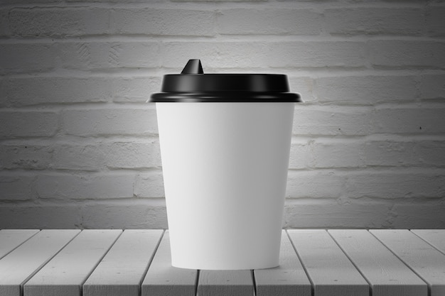 White paper cup on a wooden table, brick wall on the background. 3d render.