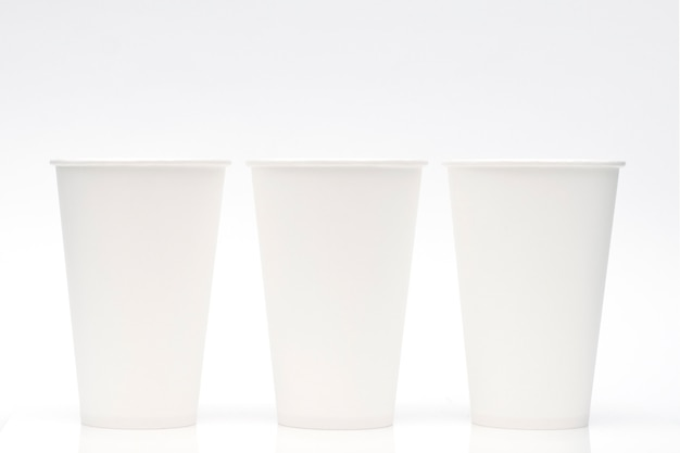 White paper cups on a white background