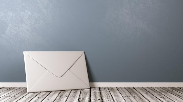 White paper envelope on wooden floor against wall