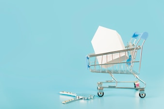White paper house model inside the shopping cart with keys against blue background
