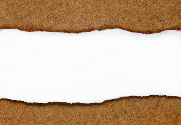 흰 종이 중간에 나무 테이블에 찢어