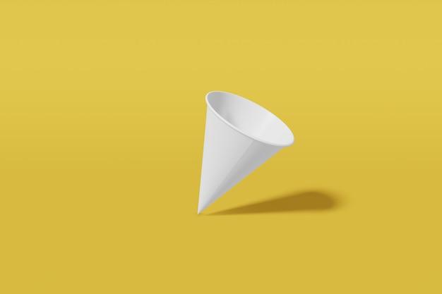 Конус чашки модель-макета белой бумаги сформировал на желтой предпосылке. 3d рендеринг