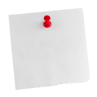 White paper note stick with red thumbtack isolated on white
