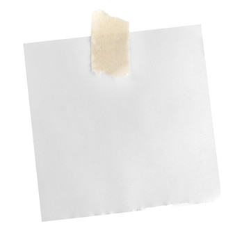 White paper note with sticky tape isolated on white