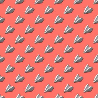 산호 배경에 백서 비행기 원활한 패턴