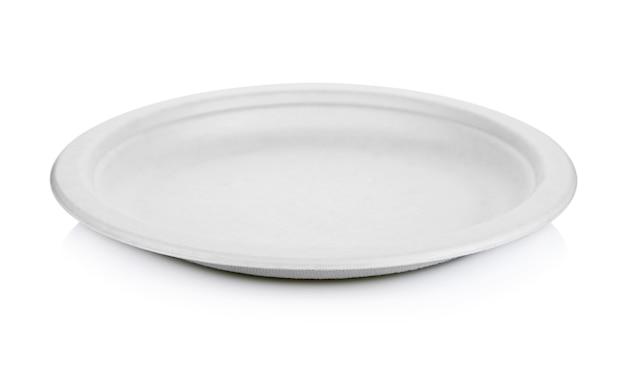 白で隔離の白い紙皿