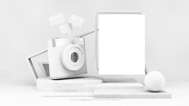 ソーシャルメディアカメラと3dレンダリングのポスターモックアップを備えたホワイトペーパーの表彰台
