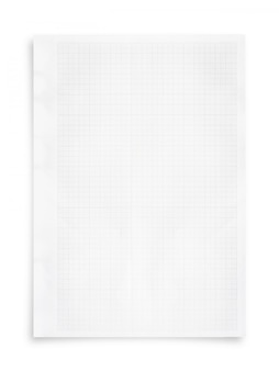 White paper sheet and grid pattern background isolated on white.